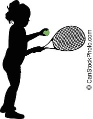 silhouette of child playing tennis