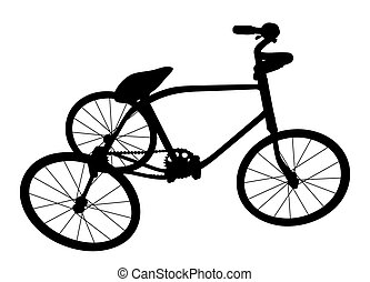 Silhouette of children bicycle.