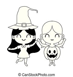 silhouette of children disguised on white background