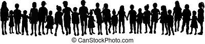 Silhouette of children on white background.