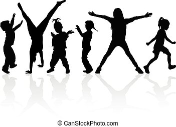 Silhouette of children on white background.
