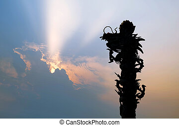 silhouette of  chinese dragon