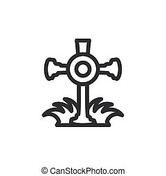 silhouette of christian cross on white background