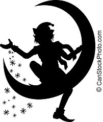 Silhouette of Christmas Elf scattering snowflakes