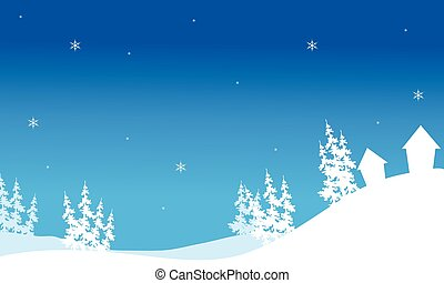 Silhouette of Christmas house in hills backgrounds vector