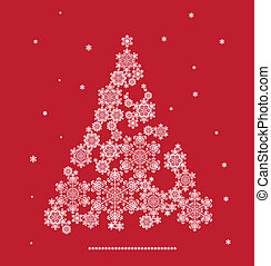 silhouette of Christmas tree formed by snowflakes -...