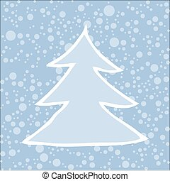 Silhouette of Christmas tree with falling snow.