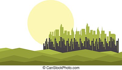 Silhouette of city and moon