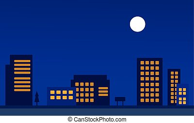 Silhouette of city apartment at night