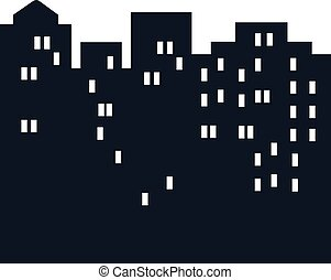 silhouette of city at night