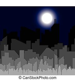 Silhouette of city at night. Vector