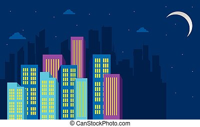 Silhouette of city building at the night