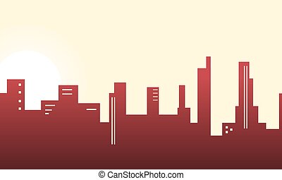 Silhouette of city building lined scenery