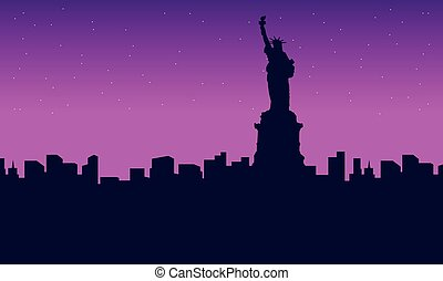 Silhouette of city liberty building scenery