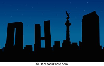 Silhouette of city Mexico building scenery