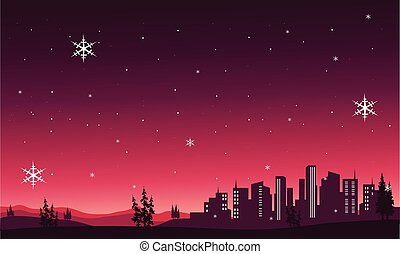Silhouette of City scenery christmas