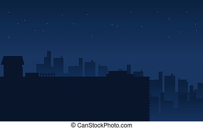 Silhouette of city scenery