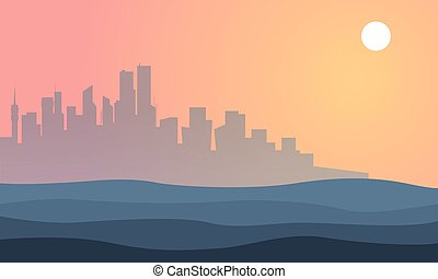 Silhouette of city town landscape at sunset