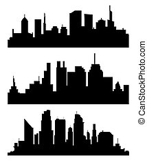 Silhouette of city with black color on white background