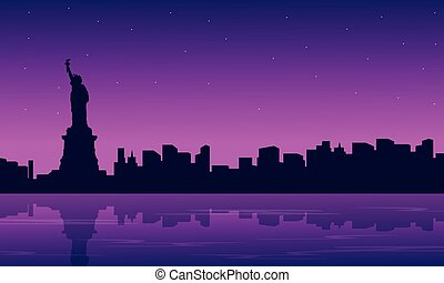 Silhouette of city with liberty building scenery