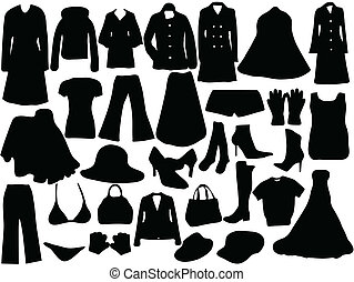 Silhouette of clothes for woman - Fashion elements for woman