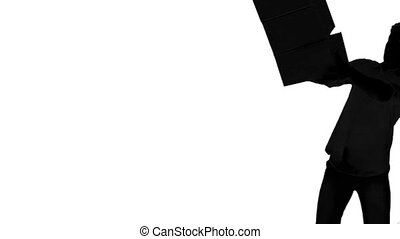 Silhouette of clumsy man dropping boxes on white background...