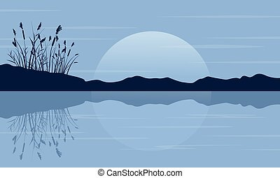 Silhouette of coarse grass on the lake scenery
