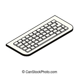silhouette of computer keyboard on white background
