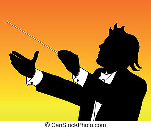 silhouette of conductor on an orange background