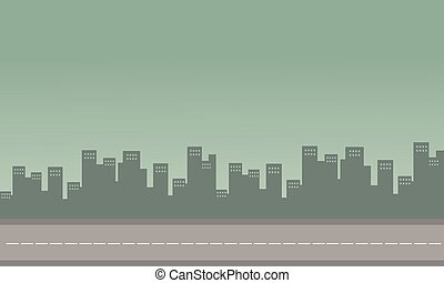 Silhouette of congested city with building