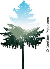 coniferous tree with panorama of mountains