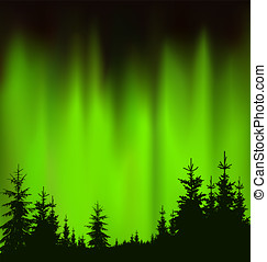 Silhouette of coniferous trees on the background of green...