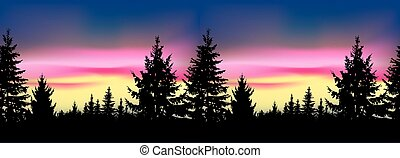 Silhouette of coniferous trees.Seamless