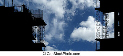 Silhouette of construction, construction equipment and ...