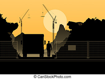 Silhouette of construction on orange background.