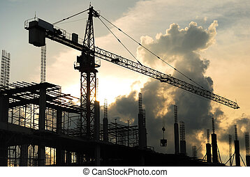 construction site - silhouette of construction site