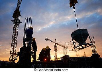 constructionworker - silhouette of constructionworker on ...