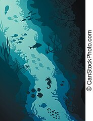 Coral reef and Underwater sea vector illustration
