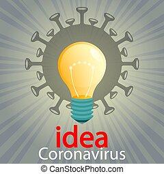 Silhouette of coronavirus, light bulb and rays of light. ...