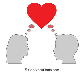 silhouette of couple heads, love concept, vector