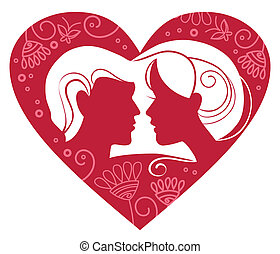 Silhouette of couple in floral heart