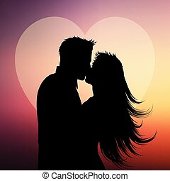 Silhouette of couple kissing on a heart background