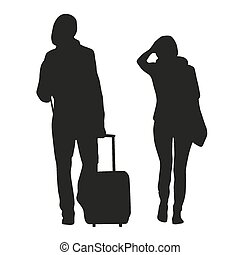 Silhouette of couple travelers