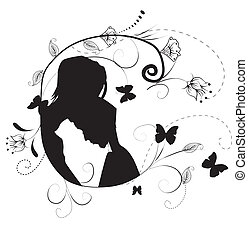silhouette of couples man and woman on flowers background