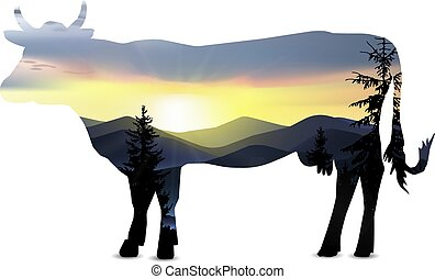 Silhouette of cow