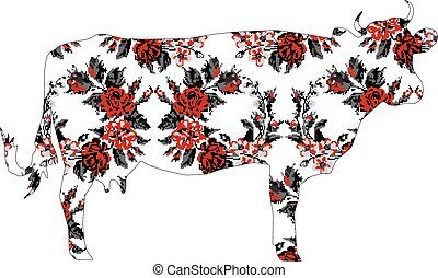 Silhouette of cow with circle bouquet of flowers (roses,...