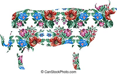 cow with color bouquet of wildflowers