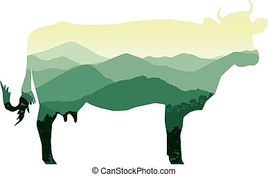 cow with mountain hills