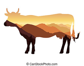 Silhouette of cow with mountains.