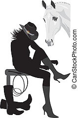 Silhouette of cowboy-woman. Vector illustration